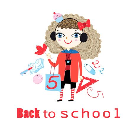 Vector illustration cartoon with cheerful girl going to school on white background. Picture back to school with objects and a girl.