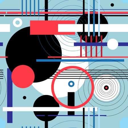 Seamless geometric abstract pattern of circle and lines. Design template for poster, fabric, wallpaper.