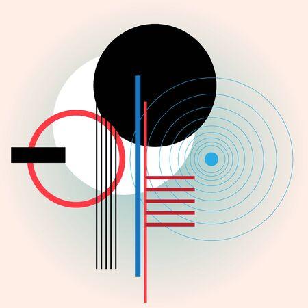 Illustrazione astratta di design moderno di cerchi e linee. Composizione geometrica per poster, locandine o pagine web. Vettoriali