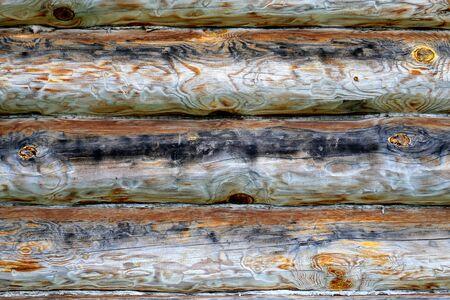 Old macro photo of a beautiful retro log walls of the house Stockfoto
