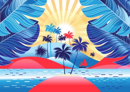 Tropical landscape with palm trees and bright sunshine on the beach. Design template for tourism advertising or book cover.