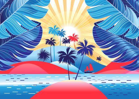 Tropikalny krajobraz z palmami i jasnym słońcem na plaży. Zaprojektuj szablon reklamy turystycznej lub okładki książki.