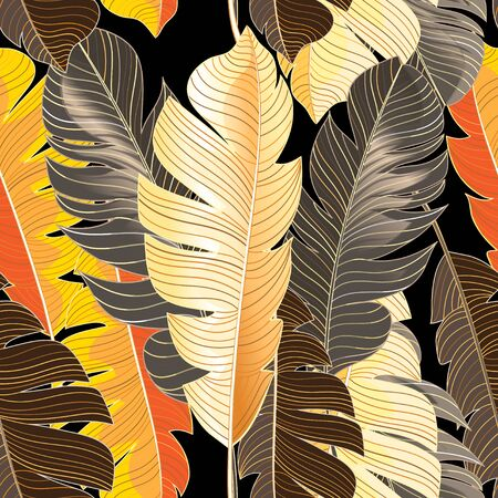 Seamless autumn pattern of tropical leaves of a palm tree against a dark background. Design example for wallpaper, fabric or web site. Ilustração