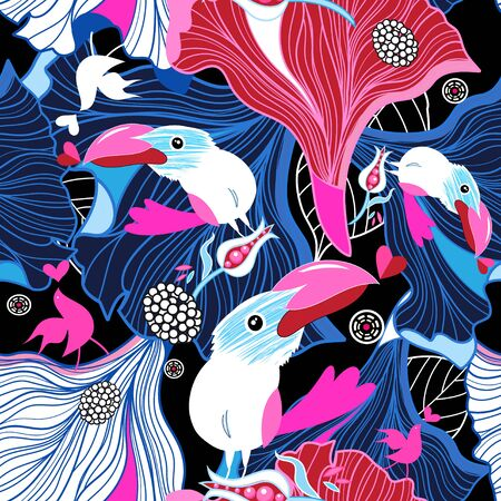Seamless festive pattern of birds in love and hearts on an abstract background Illustration