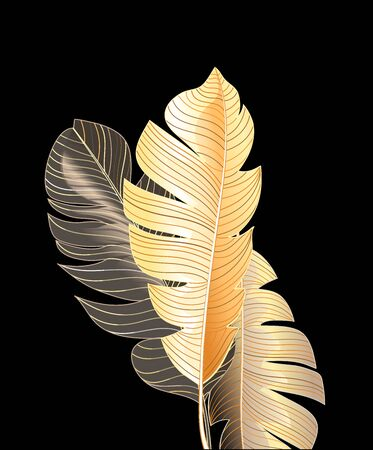 Tropical autumn vector leaves against a dark background. Design template for poster or site.