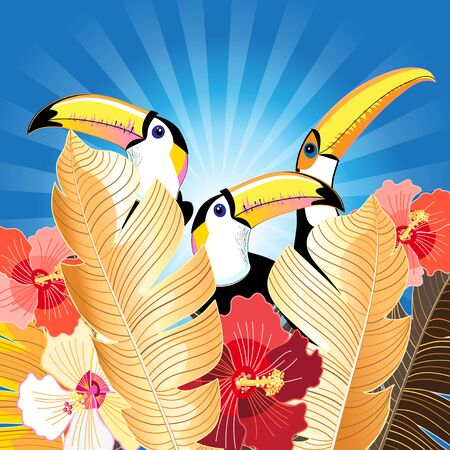 Tropical illustration with palm leaves and toucans on a blue background. Design template for tourism or nature conservation. Stock Illustratie