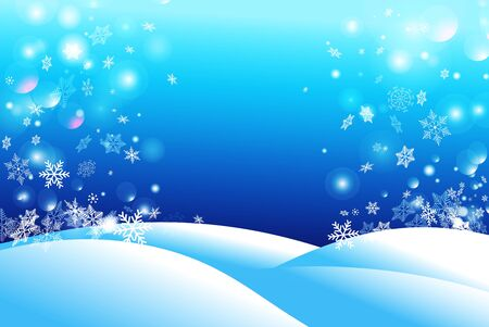 Winter beautiful background of snow and falling snowflakes. Template for web or greeting card for the New Year.