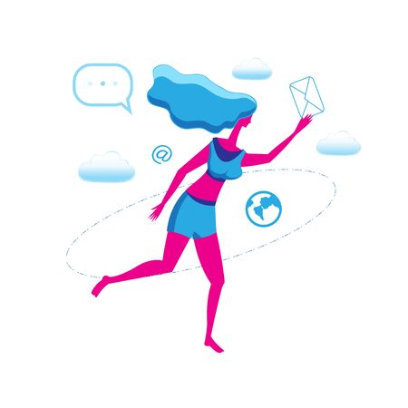 Running girl with letter icon illustration isolated on white background. Design for poster or web page.
