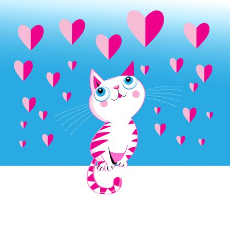 Funny love vector kitten with a heart on a blue background. Greeting card for Valentines Day.