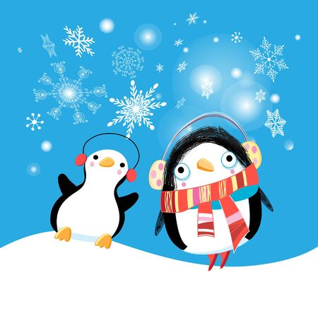 Festive New Year card with funny penguins on a blue background with snowflakes. Bright Christmas background with funny penguins for packaging design or poster. Stock Illustratie