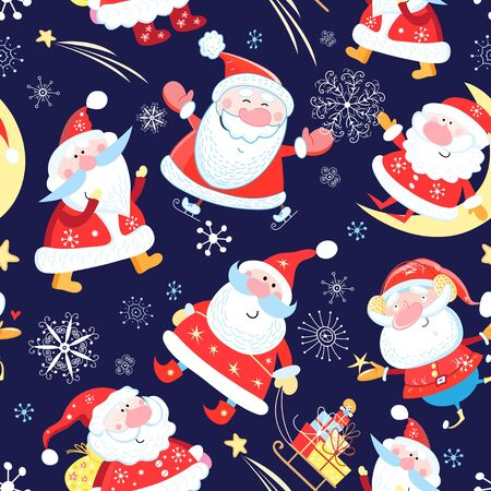 Christmas color pattern of funny Santa Clauses on a blue background with snowflakes and gifts. Sample New Years design for wallpaper or packaging and fabric.