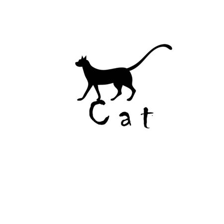 Black icon isolated cat isolated on white background. Icon for web page or advertising poster