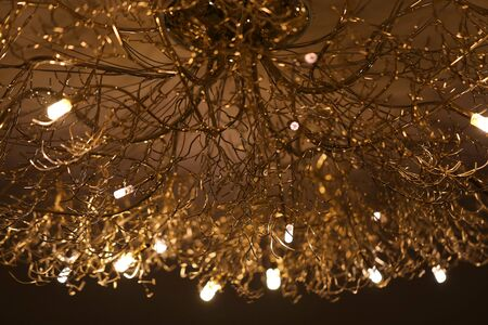 Macro photo of beautiful golden chandelier in the form of tree branches