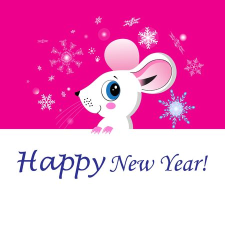 New Year card with a funny mouse on a background with snowflakes. Template for new years eve.