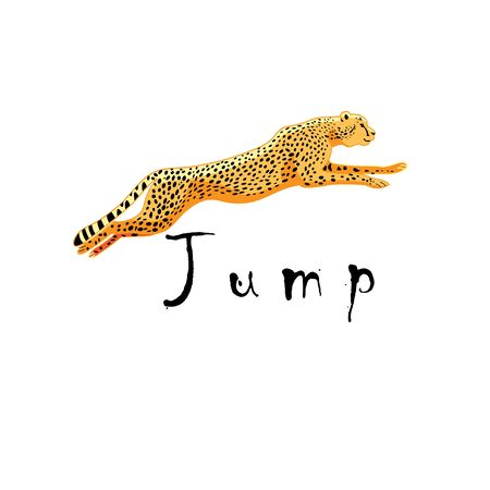 Illustration vector pounding cheetah symbol isolated on a white background.