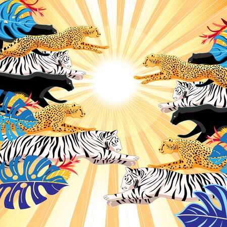 llustration jungle pattern of panthers, leopards and tigers on a background with the sun. An example for a poster or web page. Stock Illustratie