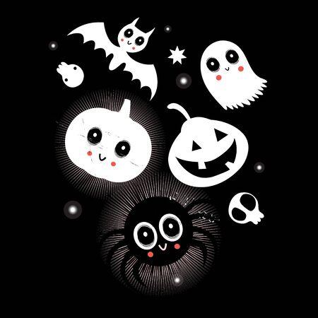 Świąteczna karta jasny wektor z postaciami na Halloween. Ilustracje wektorowe