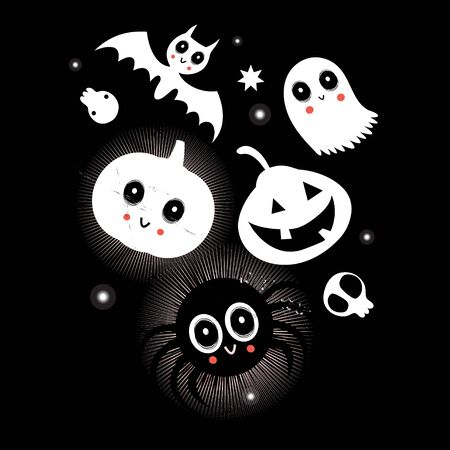 Festive bright vector card with characters for Halloween. Illustration