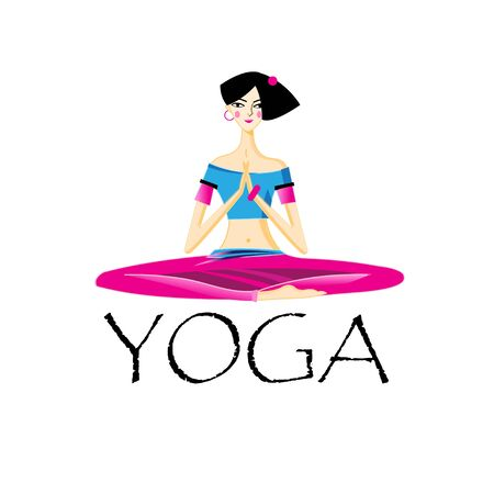 Vector illustration of a beautiful yogi girl isolated on white background. Icon template for poster or web site.