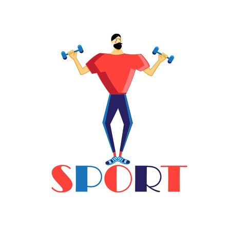 Vector illustration of a strong man athlete with dumbbells on a white background. Advertising icon of a sports club or web site.