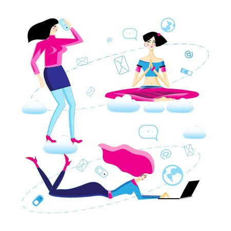 Vector illustration set of different action girls on a white background. Symbols of girls at work.