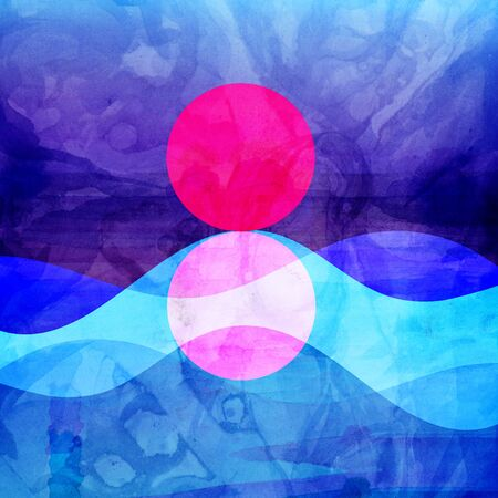 Abstract watercolor picture with new geometric sun and sea and objects. Design template for web page or poster.