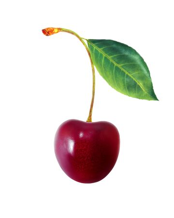 Macro photo of tasty big sweet cherry isolated on a white background. An example for packaging design. Stockfoto