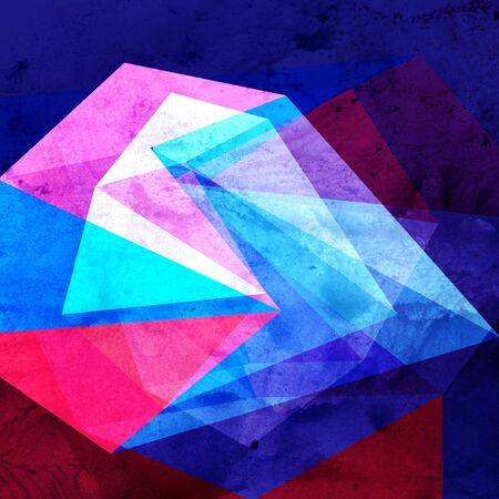 Watercolor retro color abstract geometric background. Design template for wallpaper or poster. 写真素材