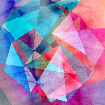 Abstract retro watercolor background with different geometric shapes. 写真素材