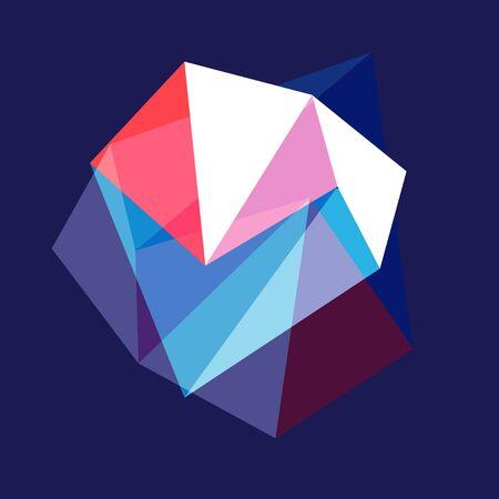 Beautiful vector geometric shape on a blue background