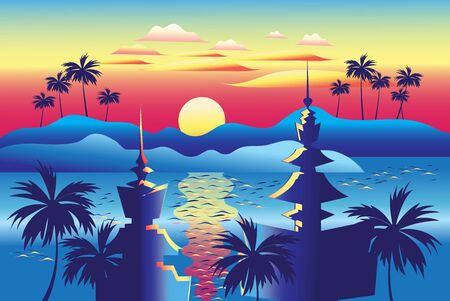 Beautiful tropical landscape illustration with islands and palm trees temples at sunset in Thailand. Design template for tourism advertising in Asia.