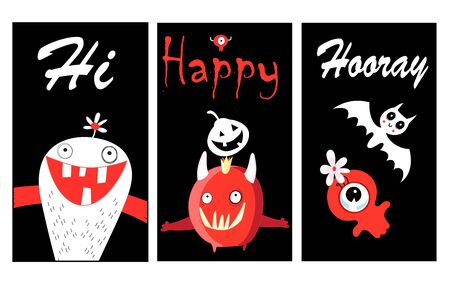 Bright funny vector banners with monsters for Halloween. Halloween holiday banner design.