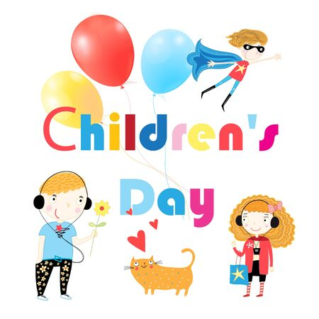 Childrens Day holiday card with text and children