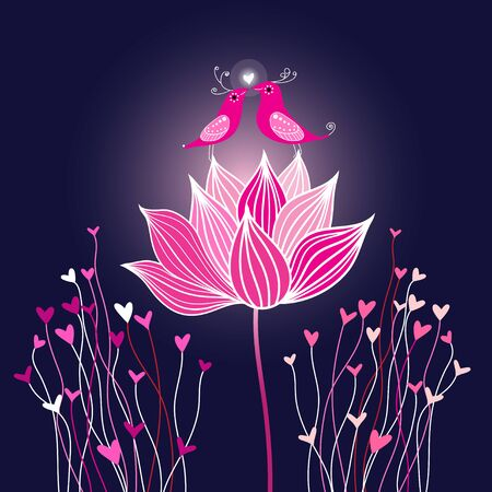Graphic vector birds in love on a lotus flower