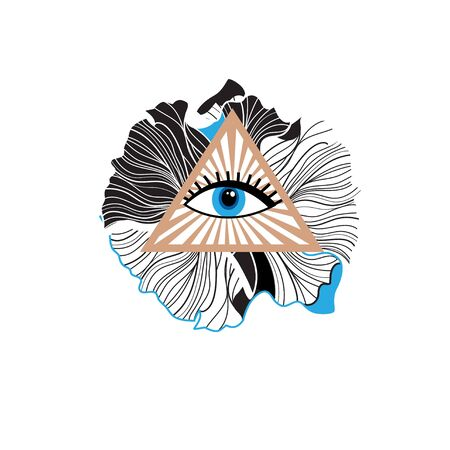 Illustration vector sign interesting beautiful all seeing eye
