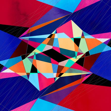 Watercolor abstract colorful background with geometry elements. Background for design template