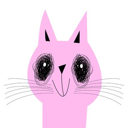 Vector sad cartoon pink cat on a white background