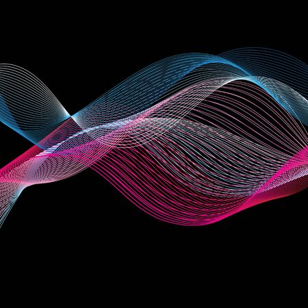 Seamless graphic elements of long multi-colored waves on a dark background.