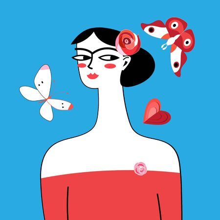 Bright graphic portrait of a beautiful woman with roses and butterflies on a blue background Ilustracja