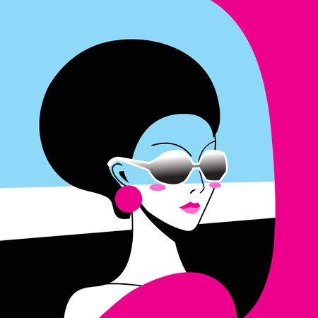 Beautiful vector portrait of a girl in sunglasses on an abstract background. Stock Illustratie