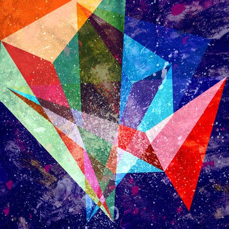Abstract watercolor design multicolored background of geometric objects Reklamní fotografie