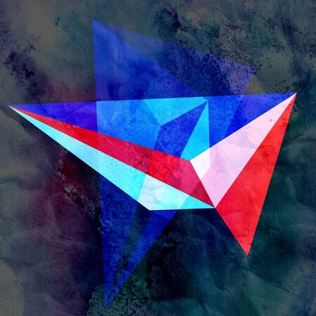 Abstract watercolor design multicolored background of geometric objects Stockfoto