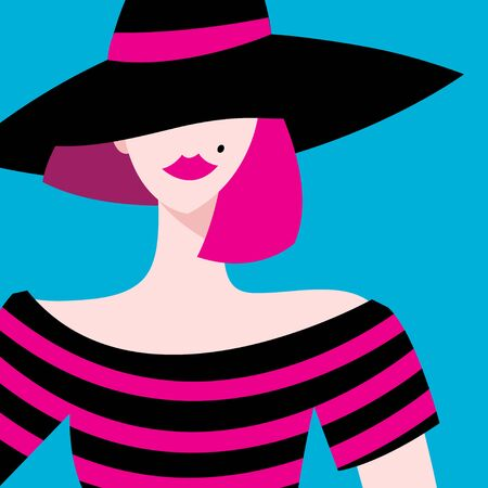 Vector graphic portrait of a beautiful girl in a hat. Beauty salon advertising.