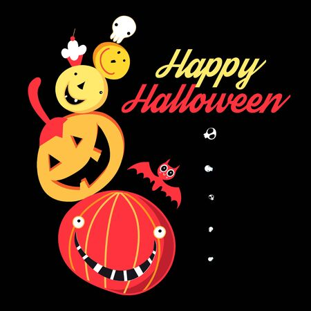 Vector graphic congratulation color Halloween poster with pumpkins and skulls on a dark background Stock Illustratie