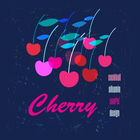 Vector graphic color poster with cherries on a blue background. Advertising berries for packaging juice.