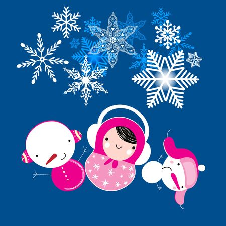 Winter Christmas card with matryoshka and snowmen on a blue background with snow