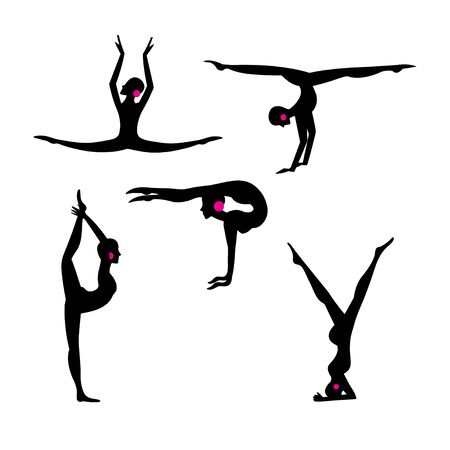 Vector set silhouettes of beautiful gymnasts isolated on white background