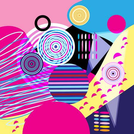 Abstract color vector background of different objects. Example for cover or web page design.