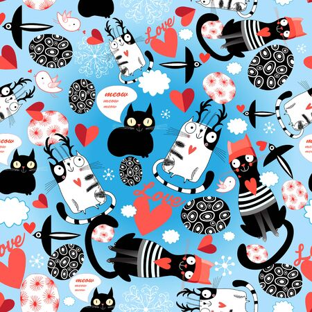 Seamless bright pattern of loving cats with hearts on a blue background.
