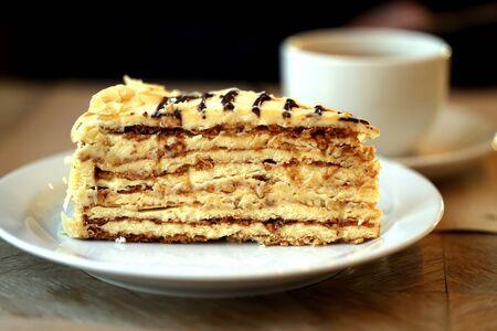 Photo macro of a delicious sweet piece of dessert in a restaurant Archivio Fotografico - 133296335